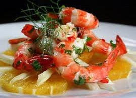 SHRIMP SALAD AND ORANGES